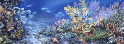 Andrews + Blaine Linda Thompson Coral Reef Panoramic Jigsaw Puzzle