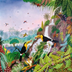 Puzzles Michele Wilson Toucans � Car�ne - THOMAS Handcrafted Wood Jigsaw Puzzle