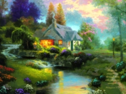 Ceaco Thomas Kinkade Spring at Creekside Cottage Oversized Jigsaw Puzzle