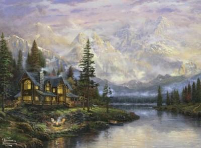 Ceaco Thomas Kinkade Cathedral Mountain Lodge Jigsaw Puzzle