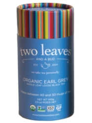 Two Leaves Tea: Organic Earl Grey - Loose Tea in a Cylinder Case
