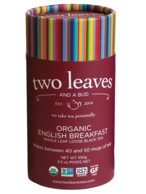 Two Leaves Tea: Organic English Breakfast - Loose Tea in a Cylinder