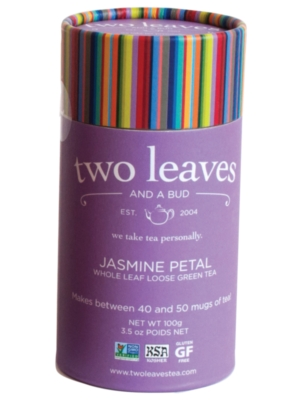 Two Leaves Tea: Organic Jasmine Petal Green - Loose Tea in a Cylinder
