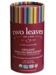 Two Leaves Tea: Organic English Breakfast - Loose Tea in a Cylinder Case