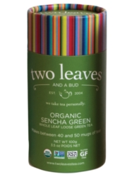 Two Leaves Tea: Organic Sencha Green - Loose Tea in a Cylinder Case