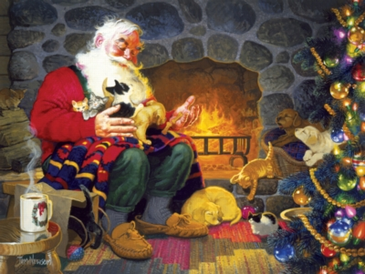 Fireplace Santa - 500pc Jigsaw Puzzle by SunsOut