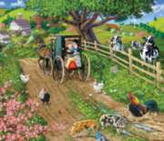 Amish Children in a buggy on the farm - 550 piece puzzle