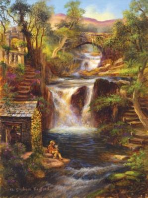 Waterfall Retreat - 1000pc Jigsaw Puzzle by SunsOut
