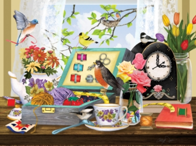 Sewing Kit and Teacup - 1000pc Jigsaw Puzzle by SunsOut
