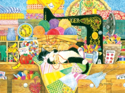 Kitten's Sewing Lesson - 1000pc Jigsaw Puzzle by SunsOut