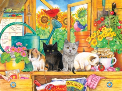 Potting Shed Kittens - 1000pc Jigsaw Puzzle by SunsOut