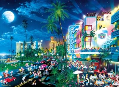Cartoon World: South Beach Moonlight - 1000pc Jigsaw Puzzle by Buffalo Games