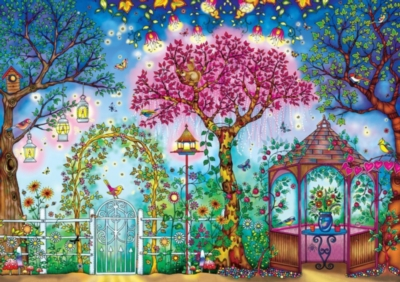 SECRET GARDEN: Johanna Basford SONGBIRD GARDEN - 500pc Coloring Book Jigsaw Puzzle by Buffalo Games