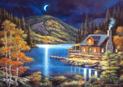 Moonlit Cabin - 1000pc Jigsaw Puzzle By Castorland