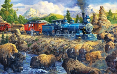 Delaying the Iron Horse - 550pc Jigsaw Puzzle by SunsOut