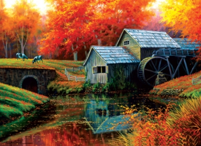 Old Mill in October - 500+pc Large Format Puzzle by SunsOut