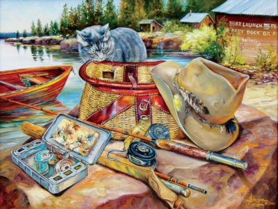 Cat & Tackle - 500pc Jigsaw Puzzle by SunsOut
