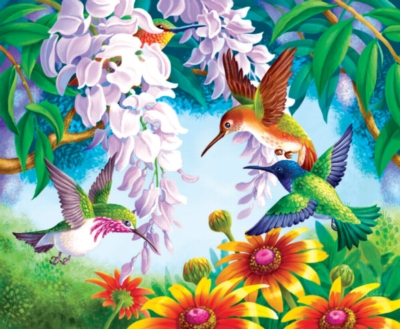 Hummingbird Fly By - 1000pc Jigsaw Puzzle by Sunsout