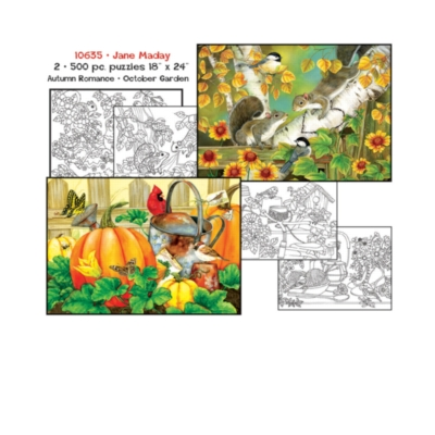 Jane Maday: Coloring Pages and 2 x 500pc Jigsaw Puzzle Set by Sunsout