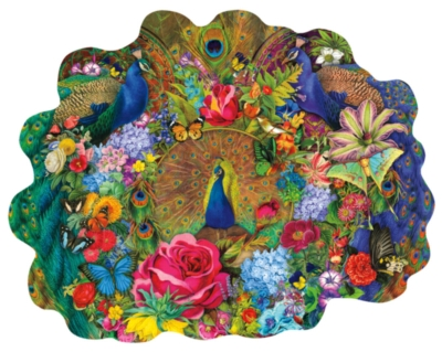 Garden Peacock - 1000pc Shaped Jigsaw Puzzle by Sunsout