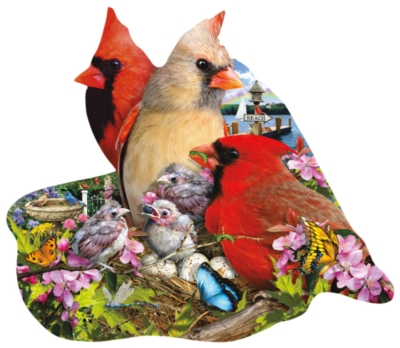 Spring Cardinals - 800pc Shaped Jigsaw Puzzle by Sunsout
