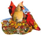 Fall Cardinals - 800pc Shaped Jigsaw Puzzle by Sunsout