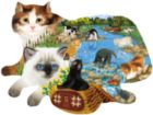 Fishing Kittens - 1000pc Shaped Jigsaw Puzzle by Sunsout