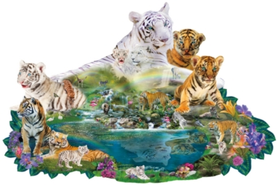 Tigers at the Pool - 1000pc Shaped Jigsaw Puzzle by SunsOut