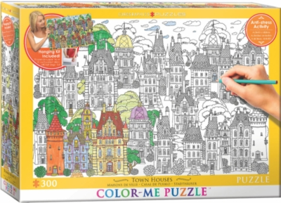 Color Me Puzzle: Town Houses - 300pc Color Yourself Jigsaw Puzzle by Eurographics
