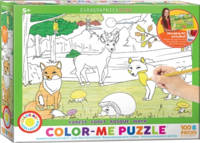 Color Me Puzzle: Forest - 100pc Color Yourself Jigsaw Puzzle by Eurographics