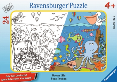 Ocean Life - 24pc Color Your Own Mini Frame Puzzle by Ravensburger