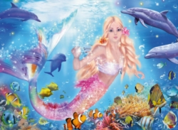 Mermaid & Dolphins - 100pc Glitter Jigsaw Puzzle By Ravensburger
