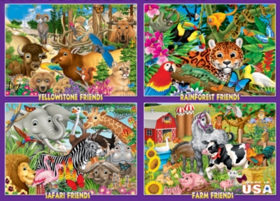 4-in-1 Animal Friends - 100pc Jigsaw Puzzle by White Mountain