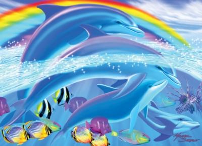 Dolphin Rainbow Bridge - 100pc Jigsaw Puzzle by White Mountain