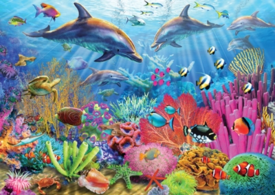 Dolphin Coral Reef - 100pc Jigsaw Puzzle by White Mountain