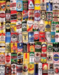 550 piece puzzle collage of beer cans