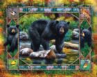 Black Bear & Cubs - 1000pc Jigsaw Puzzle by White Mountain
