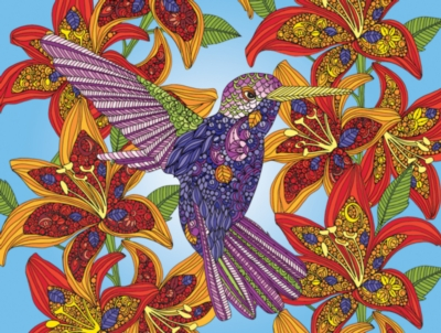 Hummingbird and flowers 300 piece coloring puzzle