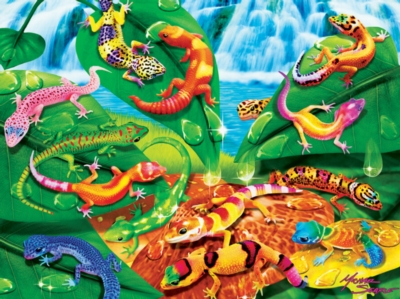 Geckos Galore - 300pc Glow in the Dark EZ Grip Jigsaw Puzzle By Masterpieces