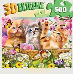 Cuddly Kittens - 500pc Lenticular 3D Jigsaw Puzzle By Masterpieces