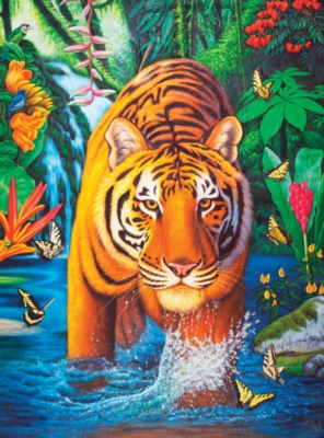 Tiger Pool -pc Art - 500pc Jigsaw Puzzle by Lafayette Puzzle Factory