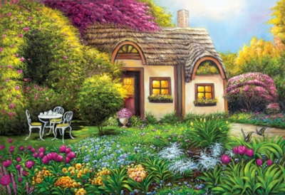 Garden Cottage -pc Art - 500pc Jigsaw Puzzle by Lafayette Puzzle Factory