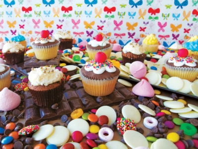 Cupcake Candy Madness - Colorluxe - 1000pc Jigsaw Puzzle by Lafayette Puzzle Factory