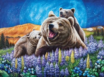 Blueberry Bears -pc Art - 1000pc Jigsaw Puzzle by Lafayette Puzzle Factory