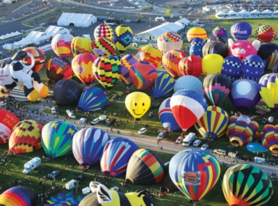 Hot Air Balloons on the Ground, Albuquerque Balloon Festival - Balloons Galore - 1000pc Jigsaw Puzzle by Lafayette Puzzle Factory