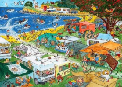 Behind the Scenes: Campground Chaos - 1000pc Jigsaw Puzzle By Holdson