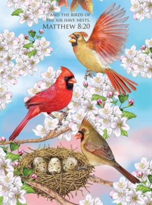 Cardinals and Cherry Blossoms - 1000pc Jigsaw Puzzle by Lafayette Puzzle Factory