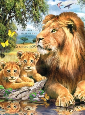 Lions by the Pool - 1000pc Jigsaw Puzzle by Lafayette Puzzle Factory