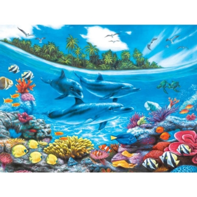 Dolphin Paradise - 500pc Jigsaw Puzzle by Lafayette Puzzle Factory