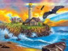 Sunset Cove Lighthouse - 500pc Jigsaw Puzzle by Lafayette Puzzle Factory